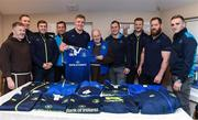 """4 January 2018; Leinster Rugby and Canterbury of New Zealand visited the Capuchin Day Centre for the homeless in Dublin city centre today to drop off warm clothing ahead of the expected cold snap in the coming weeks. Sean Kavanagh, Global Head of Sports Marketing and Sponsorship with Canterbury said, """"In partnership with Leinster Rugby we saw an opportunity to donate kit not already used by the team to a worthwhile cause. Br. Kevin and the volunteers in the Capuchin Day Centre are doing great work for the homeless of Dublin and we are delighted to be able to contribute in a small way to what is a big issue for society as a whole."""" Leinster and Ireland Rugby player Dan Leavy added, """"Rugby Players' Ireland have provided a number of opportunities for Leinster players over the last few months to volunteer in Dublin city centre with the homeless and this initiative by Canterbury and Leinster Rugby was another opportunity that the players were keen to get behind. Br. Kevin and his staff in the Capuchin Day Centre have been doing great work for years and hopefully this small gesture will help towards their endeavours."""" Br. Kevin Crowley founder and CEO of the Capuchin Day Centre said,"""" Homelessness in Ireland is still at crisis point and we need to keep that front of mind. It's a great boost to us all here today to have Leinster Rugby visit and keep the issue in the public domain this winter."""" Leinster Rugby also donated a signed jersey and match tickets to help with the fundraising efforts over the coming weeks. For further information or to donate to the Capuchin Day Centre please visit capuchindaycentre.ie during a Leinster Rugby visit to the Capuchin Day Centre in Dublin. Pictured at the visit with Br Sean Donohoe, left, and Br. Kevin Crowley are Leinster players, from left, Rory O'Loughlin, Luke McGrath, Bryan Byrne, Dan Leavy, Ed Byrne, Peadar Timmins, Michael Bent and Nick McCarthy. Photo by Brendan Moran/Sportsfile"""