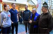 """4 January 2018; Leinster Rugby and Canterbury of New Zealand visited the Capuchin Day Centre for the homeless in Dublin city centre today to drop off warm clothing ahead of the expected cold snap in the coming weeks. Sean Kavanagh, Global Head of Sports Marketing and Sponsorship with Canterbury said, """"In partnership with Leinster Rugby we saw an opportunity to donate kit not already used by the team to a worthwhile cause. Br. Kevin and the volunteers in the Capuchin Day Centre are doing great work for the homeless of Dublin and we are delighted to be able to contribute in a small way to what is a big issue for society as a whole."""" Leinster and Ireland Rugby player Dan Leavy added, """"Rugby Players' Ireland have provided a number of opportunities for Leinster players over the last few months to volunteer in Dublin city centre with the homeless and this initiative by Canterbury and Leinster Rugby was another opportunity that the players were keen to get behind. Br. Kevin and his staff in the Capuchin Day Centre have been doing great work for years and hopefully this small gesture will help towards their endeavours."""" Br. Kevin Crowley founder and CEO of the Capuchin Day Centre said,"""" Homelessness in Ireland is still at crisis point and we need to keep that front of mind. It's a great boost to us all here today to have Leinster Rugby visit and keep the issue in the public domain this winter.""""  Leinster Rugby also donated a signed jersey and match tickets to help with the fundraising efforts over the coming weeks. For further information or to donate to the Capuchin Day Centre please visit capuchindaycentre.ie during a Leinster Rugby visit to the Capuchin Day Centre in Dublin. Pictured at the visit are Siobhan Hayde, left, from Dublin, Br. Kevin Crowley and Br. Sean Donohoe with Leinster players Dan Leavy, 2nd from left, and Rory O'Loughlin. Photo by Brendan Moran/Sportsfile"""