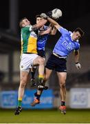 3 January 2018; Anton Sullivan of Offaly in action against Emmet Ó Conghaile, centre, and Brian Howard of Dublin during the Bord na Mona O'Byrne Cup Group 1 Second Round match between Dublin and Offaly at Parnell Park in Dublin. Photo by David Fitzgerald/Sportsfile
