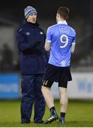 3 January 2018; Dublin manager Paul Clarke speaks with Aaron Elliot of Dublin prior to the second half starting during the Bord na Mona O'Byrne Cup Group 1 Second Round match between Dublin and Offaly at Parnell Park in Dublin. Photo by David Fitzgerald/Sportsfile