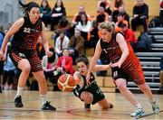 6 January 2018; Lorna McNamee of Meteors battles for the ball with Meabh Barry, left, and Siobhan Kennedy of Killester during the Hula Hoops NICC Women's National Cup semi-final match between Meteors and Killester at UCC Arena in Cork. Photo by Brendan Moran/Sportsfile