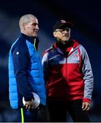 6 January 2018; Leinster senior coach Stuart Lancaster in conversation with Ulster Director of Rugby Les Kiss ahead of the Guinness PRO14 Round 13 match between Leinster and Ulster at the RDS Arena in Dublin. Photo by Ramsey Cardy/Sportsfile