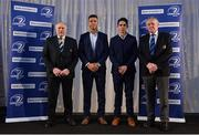 6 January 2018; In attendance at the Leinster Rugby Junior lunch are, from left, IRFU President Philip Orr, Leinster players Adam Byrne, and Joe Carberry, and Leinster Junior Vice-President Robert Deacon. This is the first time such a lunch has been held in celebration of Junior Rugby in Leinster and the inaugural Seán O'Brien Hall of Fame Award was presented to North Midlands Area Nominee Joe Kavanagh from Naas RFC. The event took place in the Ballsbridge Hotel in Dublin. Photo by Piaras Ó Mídheach/Sportsfile
