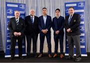 6 January 2018; In attendance at the Leinster Rugby Junior lunch are, from left, IRFU President Philip Orr, Chairman of the Junior Committee Tom Duffy, Leinster players Adam Byrne, and Joe Carberry, and Former Leinster Rugby President Robert McDermott. This is the first time such a lunch has been held in celebration of Junior Rugby in Leinster and the inaugural Seán O'Brien Hall of Fame Award was presented to North Midlands Area Nominee Joe Kavanagh from Naas RFC. The event took place in the Ballsbridge Hotel in Dublin. Photo by Piaras Ó Mídheach/Sportsfile