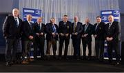 6 January 2018; In attendance at the Leinster Rugby Junior lunch are, from left, Chairman of the Junior Committee Tom Duffy, Leinster Rugby President Niall Rynne, Christy Dunne, Senior Clubs nominee, MU Barnhall RFC, Tom Cox, Midlands Area Nominee, Longford RFC, Derek Furness, South East Area nominee, New Ross RFC, Jeff Mahon, North East and Metropolitan Area nominee, Ashbourne RFC, Joe Kavanagh, North Midlands Area nominee and Inaugural Seán O'Brien Hall of Fame Award winner Naas RFC, Former Leinster Rugby President Robert McDermott , and IRFU President Philip Orr, at the Leinster Rugby Junior lunch. This is the first time such a lunch has been held in celebration of Junior Rugby in Leinster and the inaugural Seán O'Brien Hall of Fame Award was presented to Joe Kavanagh of Naas RFC. The event took place in the Ballsbridge Hotel in Dublin. Photo by Piaras Ó Mídheach/Sportsfile