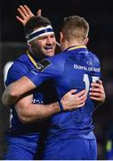 6 January 2018; Fergus McFadden of Leinster, left, congratulates teammate Jordan Larmour after he scored his side's first try during the Guinness PRO14 Round 13 match between Leinster and Ulster at the RDS Arena in Dublin. Photo by Seb Daly/Sportsfile