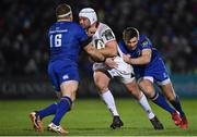 6 January 2018; Rory Best of Ulster is tackled by Seán Cronin, left, and Ross Byrne of Leinster during the Guinness PRO14 Round 13 match between Leinster and Ulster at the RDS Arena in Dublin. Photo by David Fitzgerald/Sportsfile