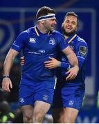 6 January 2018; Fergus McFadden, left, of Leinster is congratulated by team mate Jamison Gibson-Park after scoring his side's third try during the Guinness PRO14 Round 13 match between Leinster and Ulster at the RDS Arena in Dublin. Photo by David Fitzgerald/Sportsfile