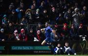 6 January 2018; Fergus McFadden of Leinster on is way to scoring his side's fourth try during the Guinness PRO14 Round 13 match between Leinster and Ulster at the RDS Arena in Dublin. Photo by David Fitzgerald/Sportsfile