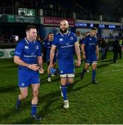 6 January 2018; Leinster's Fergus McFadden, left, and Scott Fardy following the Guinness PRO14 Round 13 match between Leinster and Ulster at the RDS Arena in Dublin. Photo by Ramsey Cardy/Sportsfile