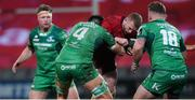 6 January 2018; Keith Earls of Munster is tackled by Quinn Roux of Connacht during the Guinness PRO14 Round 13 match between Munster and Connacht at Thomond Park in Limerick. Photo by Matt Browne/Sportsfile