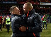 6 January 2018; Andrew Conway and Simon Zebo of Munster in conversation after the Guinness PRO14 Round 13 match between Munster and Connacht at Thomond Park in Limerick. Photo by Diarmuid Greene/Sportsfile