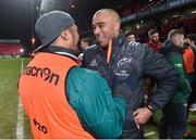 6 January 2018; Simon Zebo of Munster and Bundee Aki of Connacht after the Guinness PRO14 Round 13 match between Munster and Connacht at Thomond Park in Limerick. Photo by Matt Browne/Sportsfile