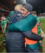 6 January 2018; Bundee Aki of Connacht and Simon Zebo of Munster after the Guinness PRO14 Round 13 match between Munster and Connacht at Thomond Park in Limerick. Photo by Matt Browne/Sportsfile