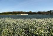 7 January 2018; A detailed view of frost on the pitch, before the game was abandoned due to an unplayable surface, prior to the Connacht FBD League Round 2 match between Leitrim and Sligo at Ballinamore in Leitrim. Photo by Seb Daly/Sportsfile