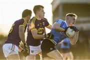 7 January 2018; Paddy Small of Dublin in action against Jim Rossiter and Brian Malone of Wexford during the Bord na Mona O'Byrne Cup Group 1 Third Round match between Wexford and Dublin at St. Patricks Park in Wexford. Photo by Matt Browne/Sportsfile