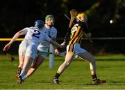 7 January 2018; Shane Ryan of Kilkenny in action against Dylan Brerton, left, and Mark Moloney of Kildare during the Bord na Mona Walsh Cup Group 2 Third Round match between Kilkenny and Kildare at St Lachtains GAA Club, Freshford, Co. Kilkenny. Photo by Ray McManus/Sportsfile