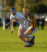 7 January 2018; Dylan Brereton of Kildare in action against John Walsh of Kilkenny during the Bord na Mona Walsh Cup Group 2 Third Round match between Kilkenny and Kildare at St Lachtains GAA Club, Freshford, Co. Kilkenny. Photo by Ray McManus/Sportsfile
