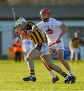 7 January 2018; Liam Blanchfield of Kilkenny in action against Paul Divilly of Kildare during the Bord na Mona Walsh Cup Group 2 Third Round match between Kilkenny and Kildare at St Lachtains GAA Club, Freshford, Co. Kilkenny. Photo by Ray McManus/Sportsfile