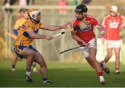 7 January 2018; Eoin Cadogan of Cork in action against Conor McGrath of Clare during the Co-op Superstores Munster Senior Hurling League match between Clare and Cork at Cusack Park in Clare. Photo by Diarmuid Greene/Sportsfile