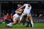 6 January 2018; Jack Conan of Leinster is tackled by Matty Rea of Ulster during the Guinness PRO14 Round 13 match between Leinster and Ulster at the RDS Arena in Dublin. Photo by Ramsey Cardy/Sportsfile