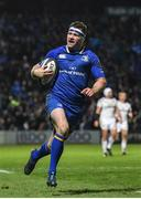 6 January 2018; Fergus McFadden of Leinster celebrates on his way to scoring his side's fourth try during the Guinness PRO14 Round 13 match between Leinster and Ulster at the RDS Arena in Dublin. Photo by Ramsey Cardy/Sportsfile
