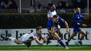 6 January 2018; Jordan Larmour of Leinster scores a try which was subsequently disallowed, despite the tackle of Johnny Stewart of Ulster during the Guinness PRO14 Round 13 match between Leinster and Ulster at the RDS Arena in Dublin. Photo by Ramsey Cardy/Sportsfile