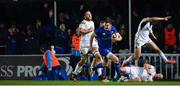 6 January 2018; Jonathan Sexton of Leinster on his way to scoring his sidde's sixth try during the Guinness PRO14 Round 13 match between Leinster and Ulster at the RDS Arena in Dublin. Photo by Ramsey Cardy/Sportsfile
