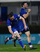 6 January 2018; Robbie Henshaw of Leinster celebrates a try scored by Jonathan Sexton, left, during the Guinness PRO14 Round 13 match between Leinster and Ulster at the RDS Arena in Dublin. Photo by Ramsey Cardy/Sportsfile