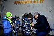6 January 2018; Leinster players Dave Kearney, Jamie Heaslip and Cian Healy greet fans in Autograph Alley ahead of the Guinness PRO14 Round 13 match between Leinster and Ulster at the RDS Arena in Dublin. Photo by David Fitzgerald/Sportsfile