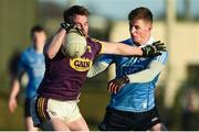 7 January 2018; Barry O'Gorman of Wexford in action against Kevin Vallaghan of Dublin during the Bord na Mona O'Byrne Cup Group 1 Third Round match between Wexford and Dublin at St. Patricks Park in Wexford. Photo by Matt Browne/Sportsfile