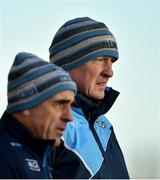 7 January 2018; Dublin manager Pat Gilroy, right, looks on with selector Anthony Cunningham during the Bord na Mona Walsh Cup Group 2 Third Round match between Dublin and Antrim at Parnell Park in Dublin. Photo by David Fitzgerald/Sportsfile