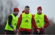 9 January 2018; JJ Hanrahan, Peter O'Mahony, and Jack O'Donoghue during a Munster Rugby press conference at the University of Limerick in Limerick. Photo by Aaron Greene/Sportsfile