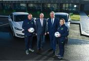 15 January 2018; Ford Ireland renewed its existing partnership with Irish football for 2018 and in doing so, handed over a fleet of new 181 Ford models to the Football Association of Ireland to assist in the delivery of grassroots football and ultimately the future of Irish football. The dual-branded (Ford and FAI) vehicles can be seen around Ireland as the association's Development Officers and other representatives work on promoting the game countrywide. Pictured are Ciarán McMahon, Managing Director of Ford Ireland, and FAI Chief Executive John Delaney with FAI Football in the Community Development Officers Dave Bell, Cork, and Nicole Dunphy, Laois, in attendance at FAI HQ in Abbotstown, Dublin. Photo by Stephen McCarthy/Sportsfile
