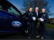 15 January 2018; Ford Ireland renewed its existing partnership with Irish football for 2018 and in doing so, handed over a fleet of new 181 Ford models to the Football Association of Ireland to assist in the delivery of grassroots football and ultimately the future of Irish football. The dual-branded (Ford and FAI) vehicles can be seen around Ireland as the association's Development Officers and other representatives work on promoting the game countrywide. Pictured is Ciarán McMahon, Managing Director of Ford Ireland, with FAI Football in the Community Development Officers Dave Bell, Cork, and Nicole Dunphy, Laois, in attendance at FAI HQ in Abbotstown, Dublin. Photo by Stephen McCarthy/Sportsfile