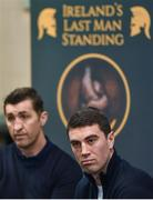 10 January 2018; Bernard Roe, right, alongside trainer Paschal Collins during a press conference to promote the upcoming Last Man Standing event at the National Stadium in Dublin. Photo by David Fitzgerald/Sportsfile