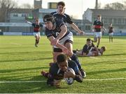 11 January 2018; Jamie Ukagba of The High School scores a try despite the tackle of Alex Bray-Flanagan of Mount Temple during the Bank of Ireland Leinster Schools Vinnie Murray Cup Round 1 match between The High School and Mount Temple at Donnybrook Stadium in Dublin. Photo by Matt Browne/Sportsfile
