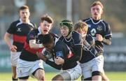 11 January 2018; Jamie Ukagba of The High School is tackled by Fionn Gilbert of Mount Temple during the Bank of Ireland Leinster Schools Vinnie Murray Cup Round 1 match between The High School and Mount Temple at Donnybrook Stadium in Dublin. Photo by Matt Browne/Sportsfile