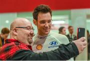11 January 2018; A rally supporter gets a selfie with Thierry Neuville from Hyundri motorsport during the launch of the 2018 WRC rally championship at the Autosport show in NEC Birmingham, United Kingdom. Photo by Philip Fitzpatrick/Sportsfile