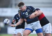 11 January 2018; Ben Griffen of Mount Temple is tackled by Kyle Butler of The High School during the Bank of Ireland Leinster Schools Vinnie Murray Cup Round 1 match between The High School and Mount Temple at Donnybrook Stadium in Dublin. Photo by Matt Browne/Sportsfile