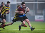 11 January 2018; Leo McDermott of Salesian College is tackled by Dylan Debeer of Skerries Community College during the Bank of Ireland Leinster Schools Vinnie Murray Cup Round 1 match between Salesian College and Skerries Community College at Donnybrook Stadium in Dublin. Photo by Matt Browne/Sportsfile