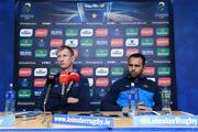 12 January 2018; Leinster head coach Leo Cullen with team captain Isa Nacewa during a Leinster Rugby squad press conference at Leinster Rugby Headquarters in Dublin. Photo by Matt Browne/Sportsfile