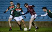 12 January 2018; Pádraic Cunningham of Galway in action against Mayo's, from left, Jamie Oates, Sharoize Akram and Michael Hall during the Connacht FBD League Round 2 refixture match between Mayo and Galway at Elverys MacHale Park in Castlebar, Mayo. Photo by Piaras Ó Mídheach/Sportsfile