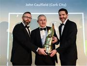 12 January 2018; Cork City manager John Caulfield is presented with the Personality of the Year award by Mark McCadden, President of the SWAI, left, and David Manning, Director of Home Energy, SSE Airtricity, right, during the SSE Airtricity / Soccer Writers Association of Ireland Awards 2017 at The Conrad Hotel in Dublin. Photo by Stephen McCarthy/Sportsfile