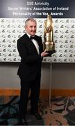 12 January 2018; Cork City manager John Caulfield after being presented with the Personality of the Year award during the SSE Airtricity / Soccer Writers Association of Ireland Awards 2017 at The Conrad Hotel in Dublin. Photo by Stephen McCarthy/Sportsfile