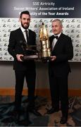 12 January 2018; Cork City goalkeeper Mark McNulty, with the Goalkeeper of the Year award, and Cork City manager John Caulfield, with the Personality of the Year award, during the SSE Airtricity / Soccer Writers Association of Ireland Awards 2017 at The Conrad Hotel in Dublin. Photo by Stephen McCarthy/Sportsfile