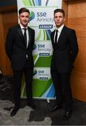 12 January 2018; Ronan Finn, left, and Luke Byrne of Shamrock Rovers in attendance at the SSE Airtricity / Soccer Writers Association of Ireland Awards 2017 at The Conrad Hotel in Dublin. Photo by Stephen McCarthy/Sportsfile