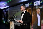 12 January 2018; SWAI President Mark McCadden speaking during the SSE Airtricity / Soccer Writers Association of Ireland Awards 2017 at The Conrad Hotel in Dublin. Photo by Stephen McCarthy/Sportsfile