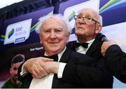 12 January 2018; Special Merit Award recipient Ronnie Nolan, left, and Eamonn 'Sheila' Darcy during the SSE Airtricity / Soccer Writers Association of Ireland Awards 2017 at The Conrad Hotel in Dublin. Photo by Stephen McCarthy/Sportsfile