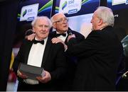12 January 2018; Special Merit Award recipient Ronnie Nolan and Eamonn 'Sheila' Darcy, right, are interviewed by Gabriel Egan during the SSE Airtricity / Soccer Writers Association of Ireland Awards 2017 at The Conrad Hotel in Dublin. Photo by Stephen McCarthy/Sportsfile